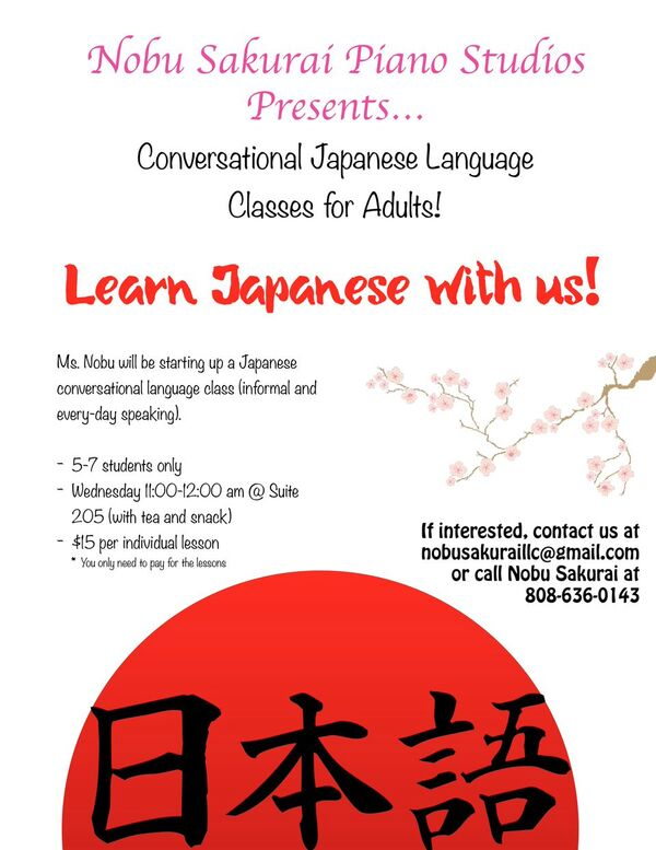 Conversational Japanese Language Class for Adults!