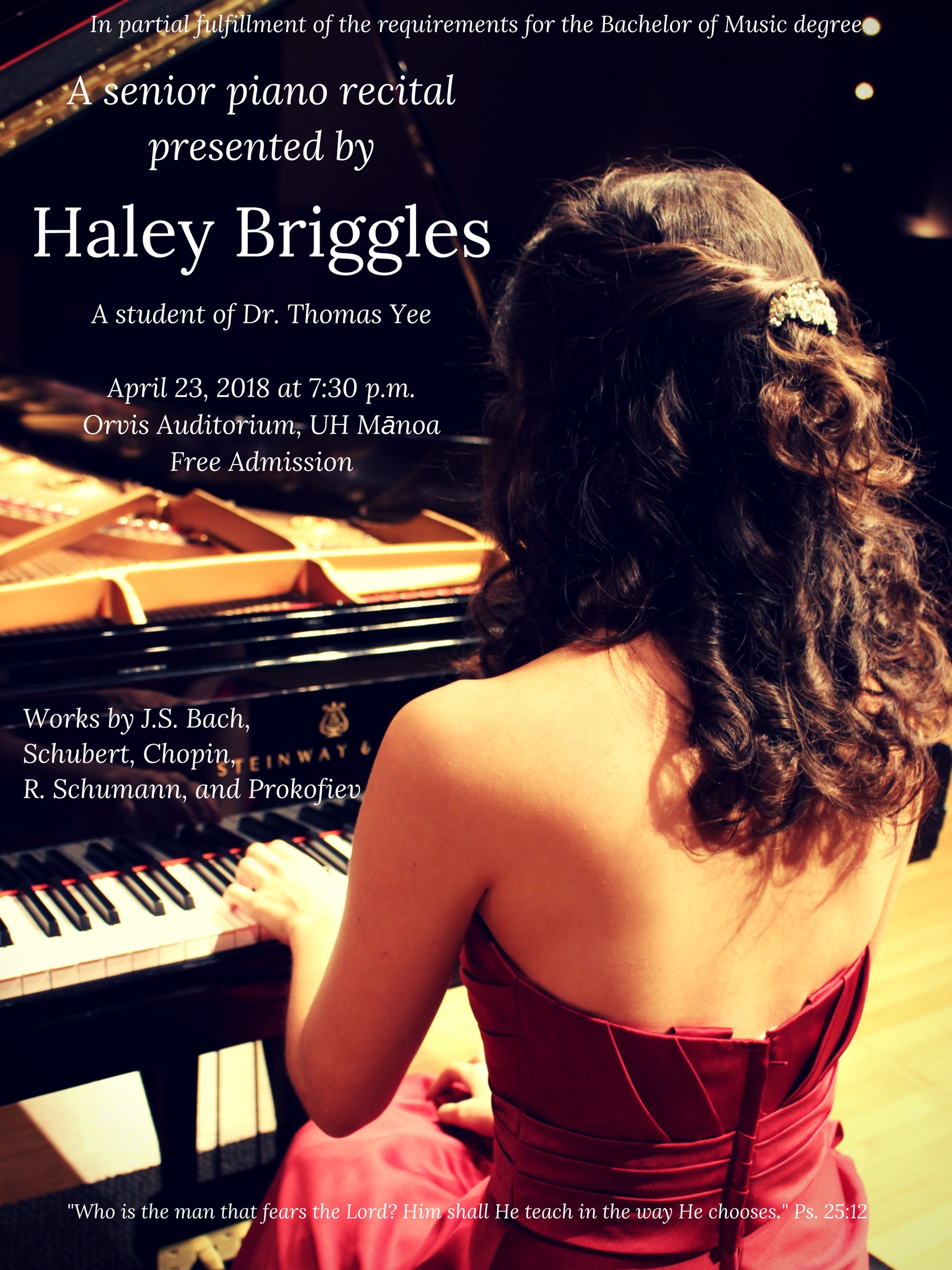 Ms. Haley's upcoming senior recital!!!