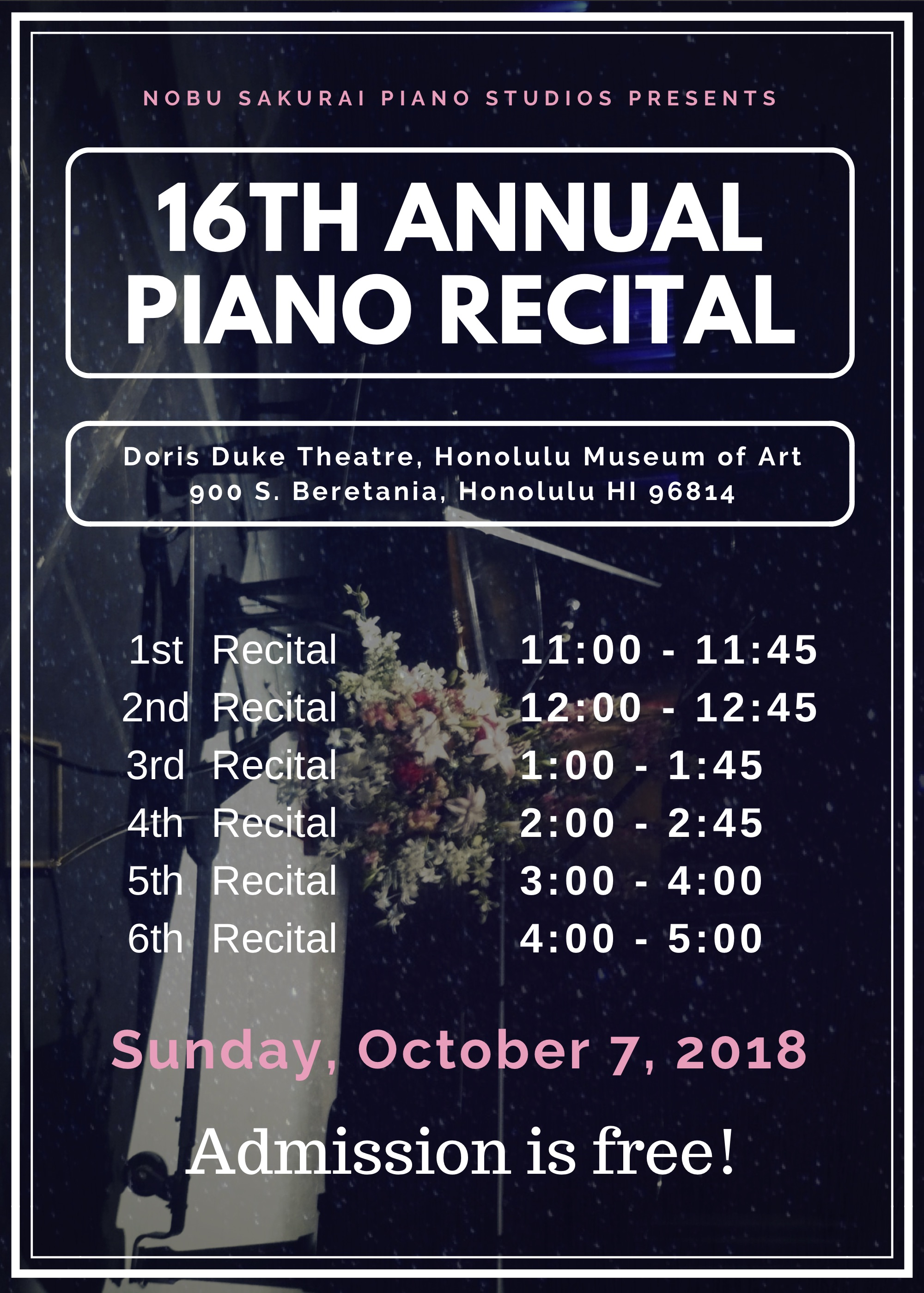 16th Annual Nobu Sakurai Piano Studios Recital!
