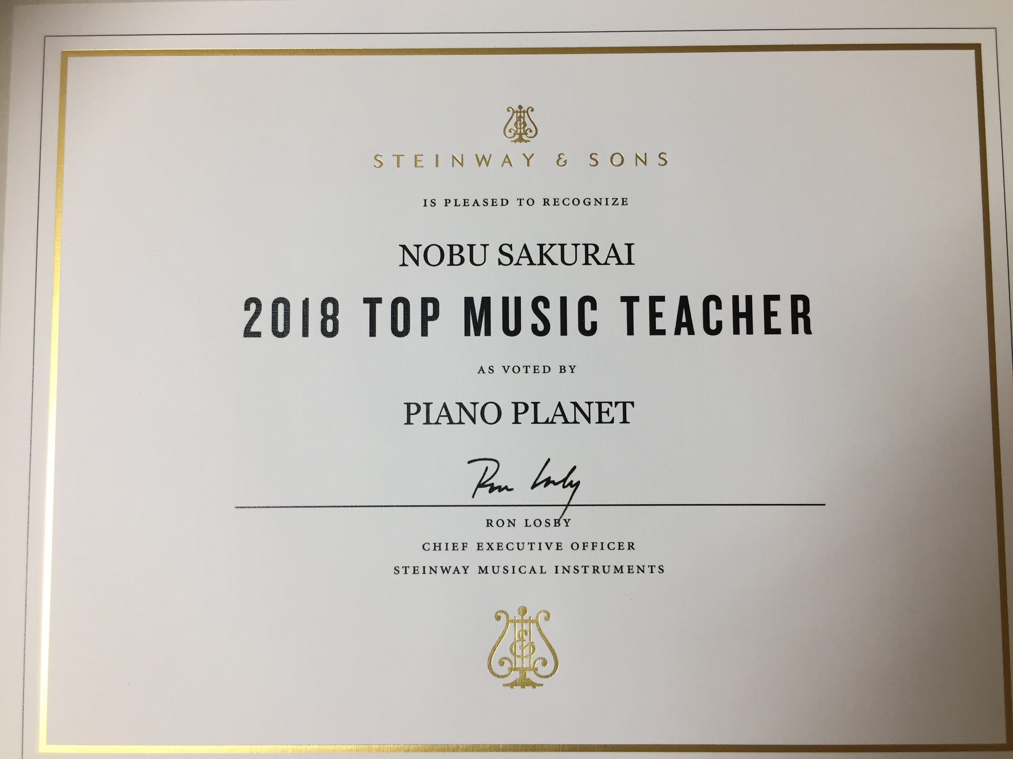 Top Piano Studio 2018 Award!